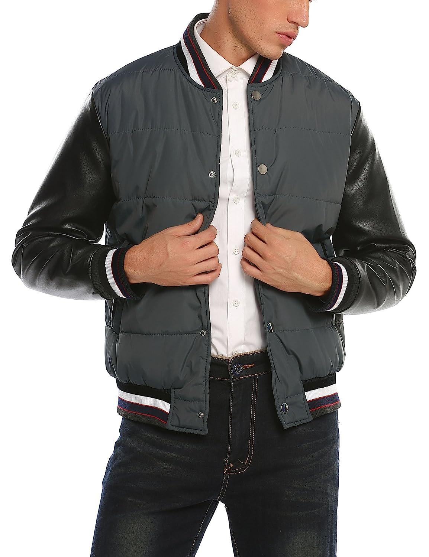 COOFANDY Men's Fashion Varsity Baseball Bomber Jacket Leather Sleeve Coat
