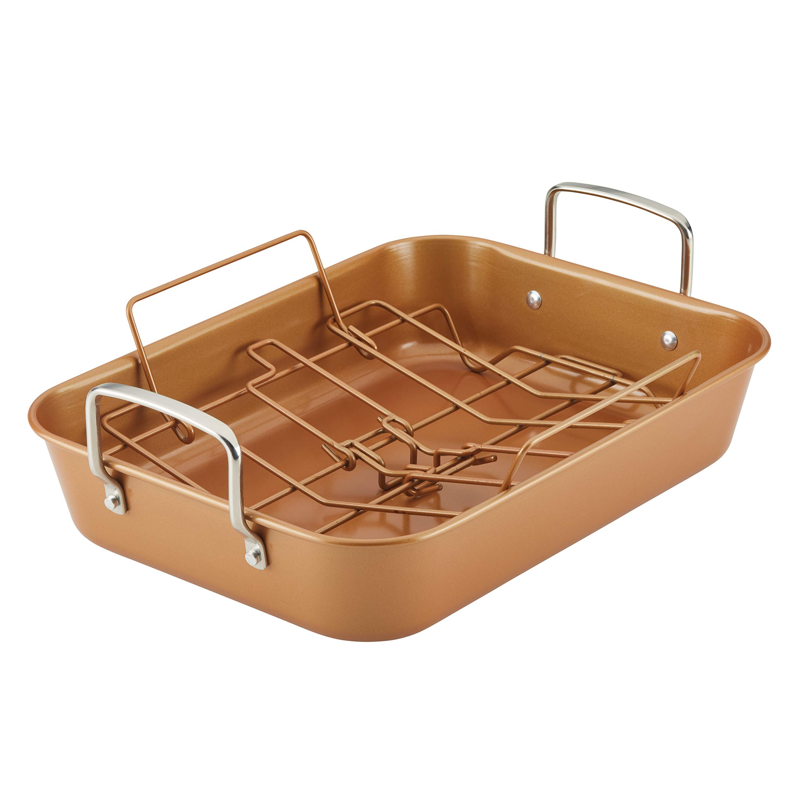 Ayesha Curry 47792 11'' x 15'' Rack Steel Roaster, 11 Inch x 15 Inch, Copper by Ayesha Curry Kitchenware