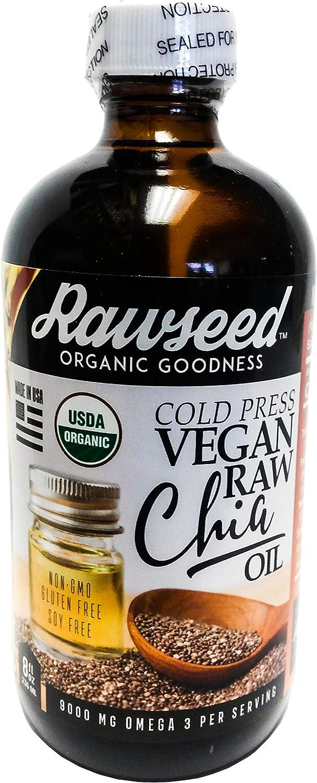 Rawseed Organic Chia Seed Oil 8 OZ Raw, Cold-Pressed, Vegan, Non-GMO