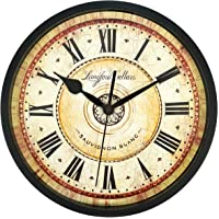 SMILEMARY 12-Inch Indoor/Outdoor Retro Wall Clock with Thermometer, Silent Non Ticking Round Wall Clock Home Decor with Arabic Numerals.for Living Room, Kitchen, Bedroom