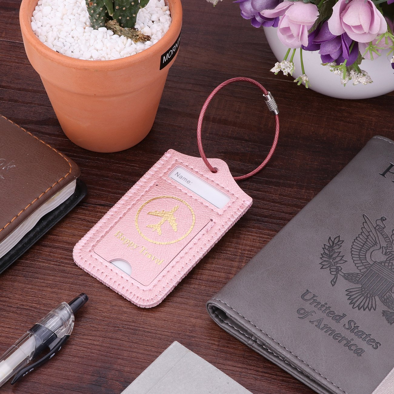 Set of 2 Tags, Pink Flowers WALNEW Travel Luggage Tags Suitcase Label Baggage Case Handbag Tags with Stainless Steel Ring Lock