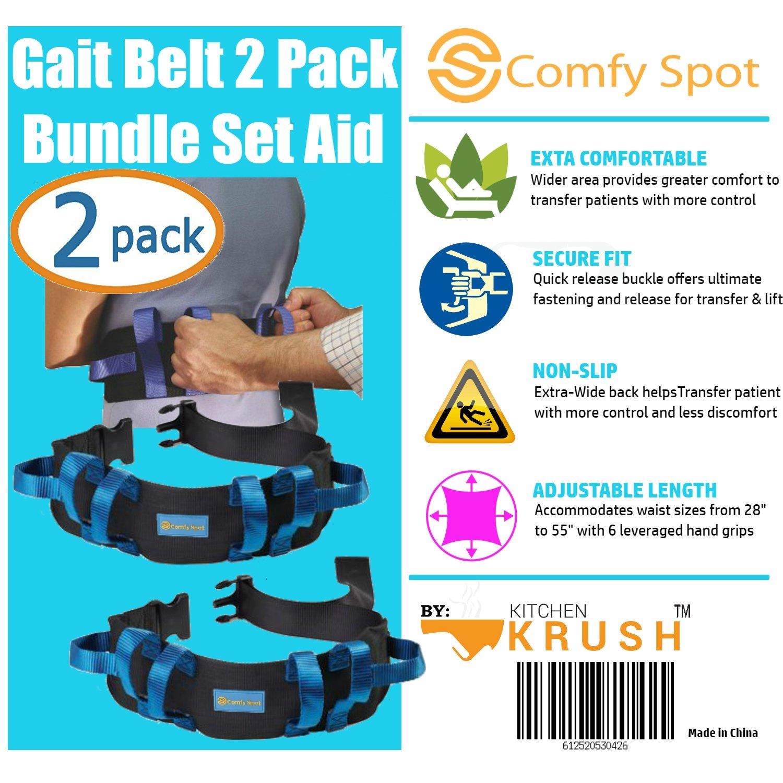 Amazon.com: Gait Belt Transfer Belt 2 Pack with Quick Release Lifts ...