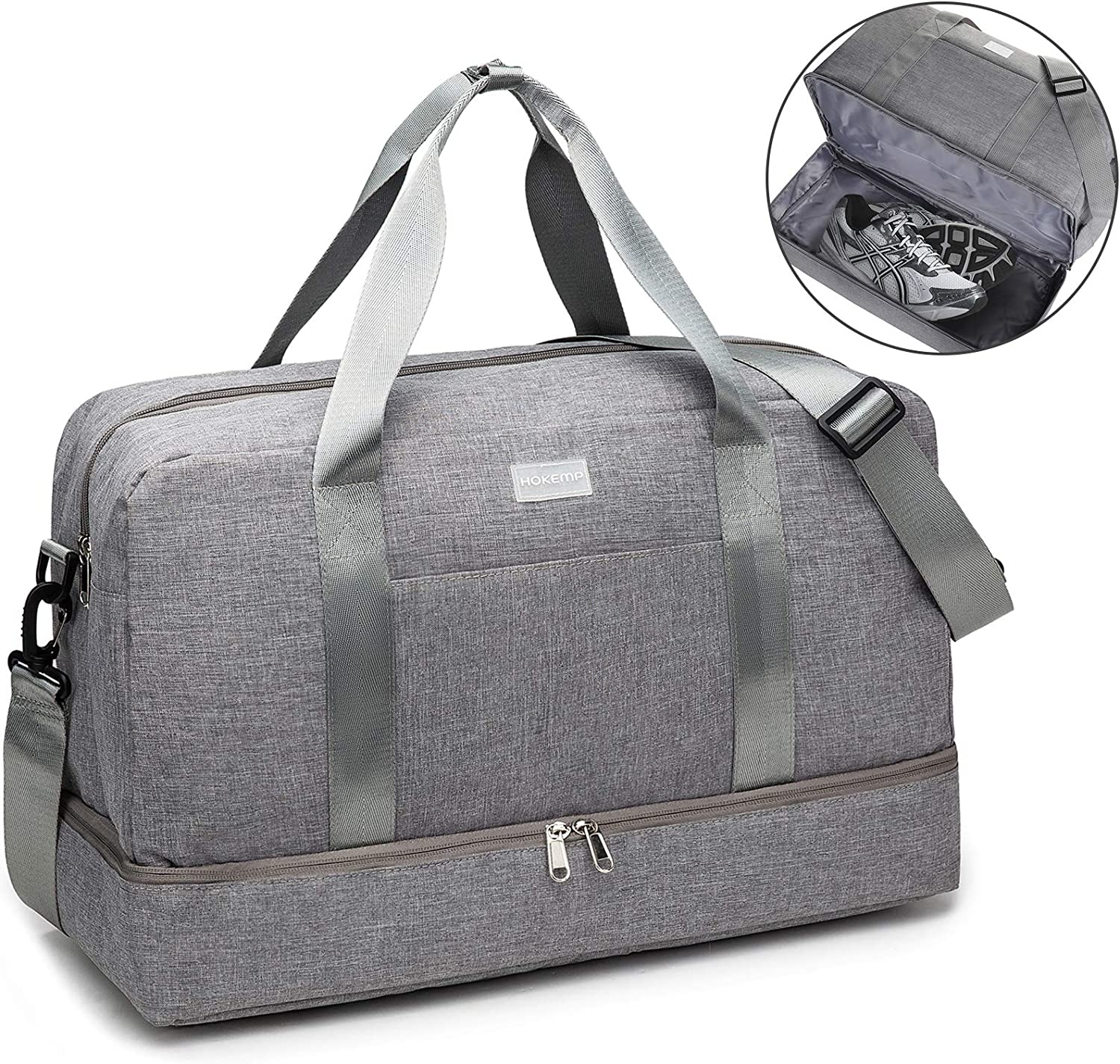Travel Duffel Unisex Men and Women Large Capacity Canvas Portable Weekend Overnight Travel Bag Sports Duffel Tote Luggage Holdall Handbag Shoulder Bags Gym Sports Luggage Bag Color : Dark Gray