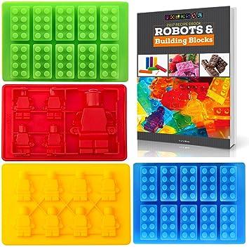 América mejor compra – 4 Pack Lego Estilo Silicona Candy moldes & Ice Cube bandejas con