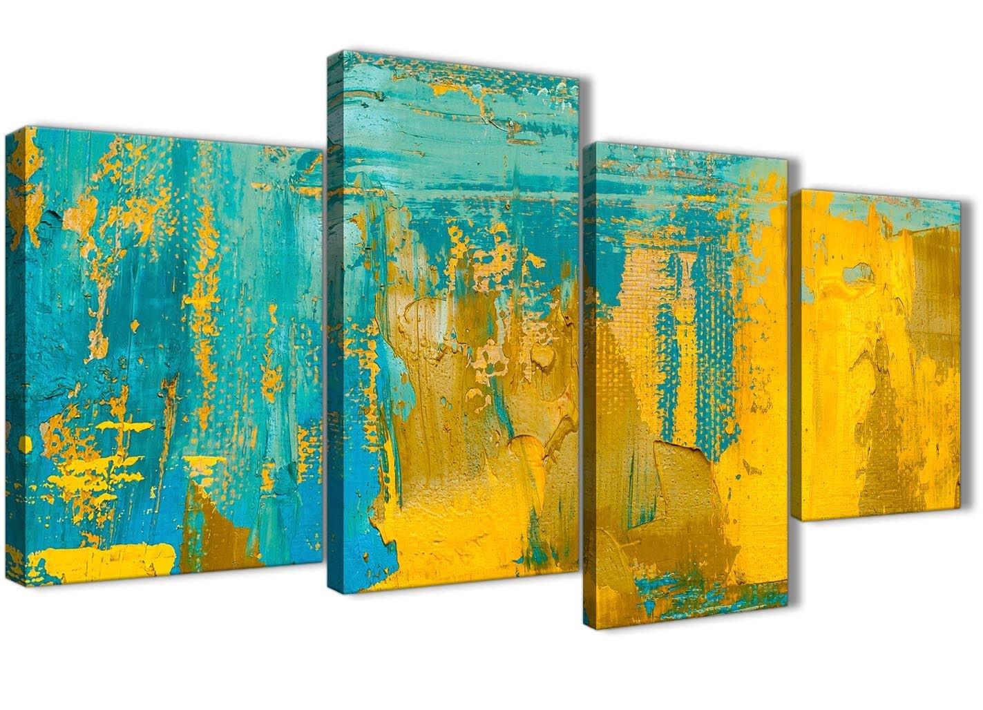 Wallfillers groß Senf Gelb und Blaugrün Türkis – Schlafzimmer Leinwand Leinwand Leinwand Abstrakt Wand Art Decor – 4446–130 cm Set von Prints 1829d8