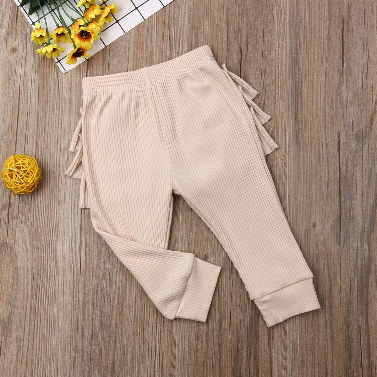 Karuedoo Baby Girls Soft Cotton Knit Ruffle Tights Leggings Infant Toddler Solid Color Stretch Long Pants