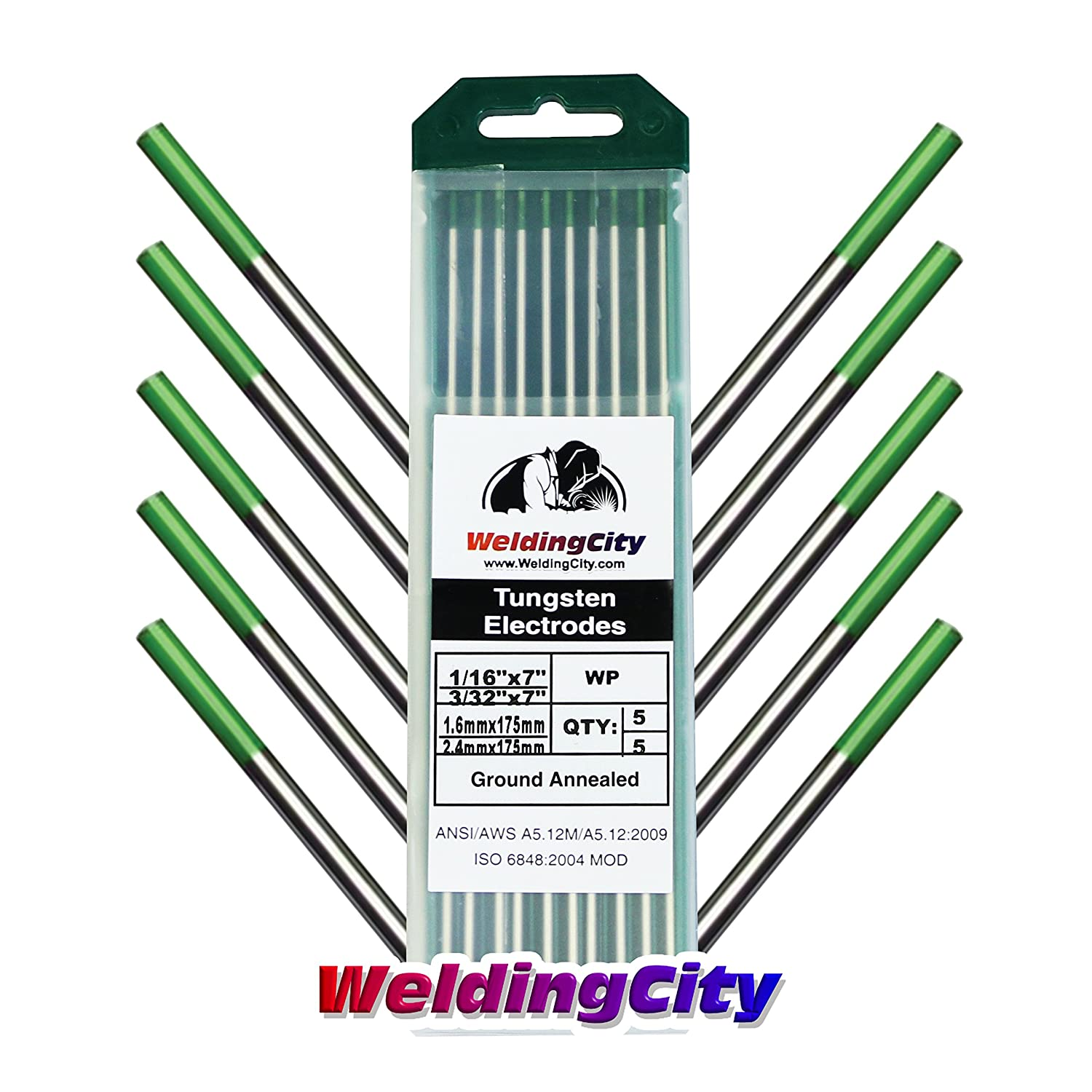 5 WeldingCity Pure 5 Tungsten TIG Welding Electrodes Assorted Size 1//16 Green and 3//32