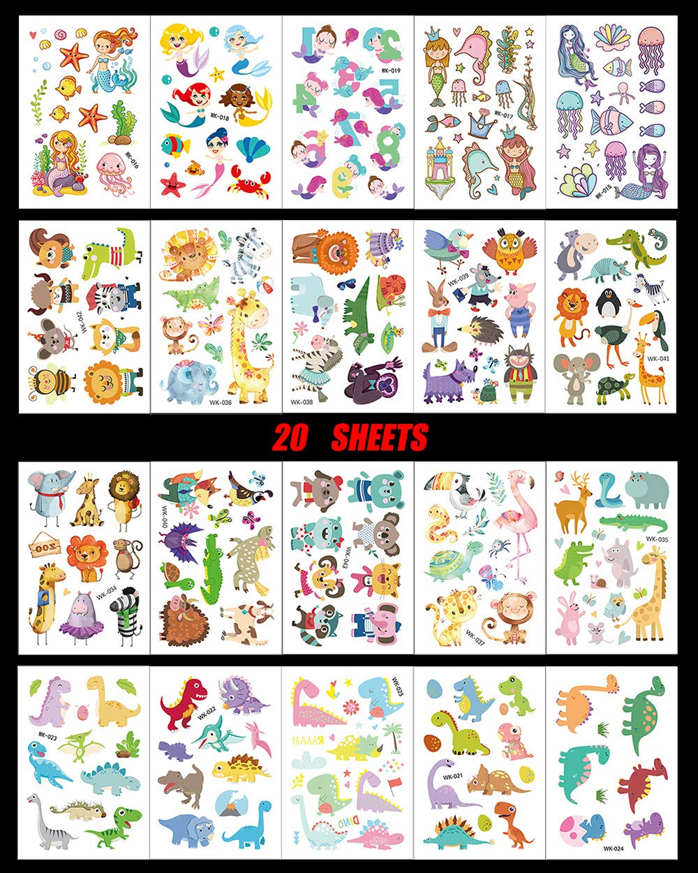 de33b1374 Amazon.com : Cute Zoo Animal Temporary Tattoos for Kids 20 Sheets Small  Fake Tattoo Stickers with 200+ Cute Patterns of Dinosaur Mermaid Dog Cat  Lion Bird ...