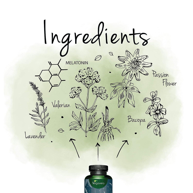 Melatonina Vegavero® | SIN ADITIVOS | Con Valeriana + Pasiflora + Lavanda + Bacopa Monnieri | Ansiedad + Dormir + Insomnio + Estrés | 120 Cápsulas | ...