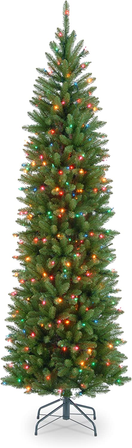 National Tree Company Pre-lit Artificial Christmas Tree | Includes Pre-strung Multi-Color Lights and Stand | Kingswood Fir Pencil - 6.5 ft