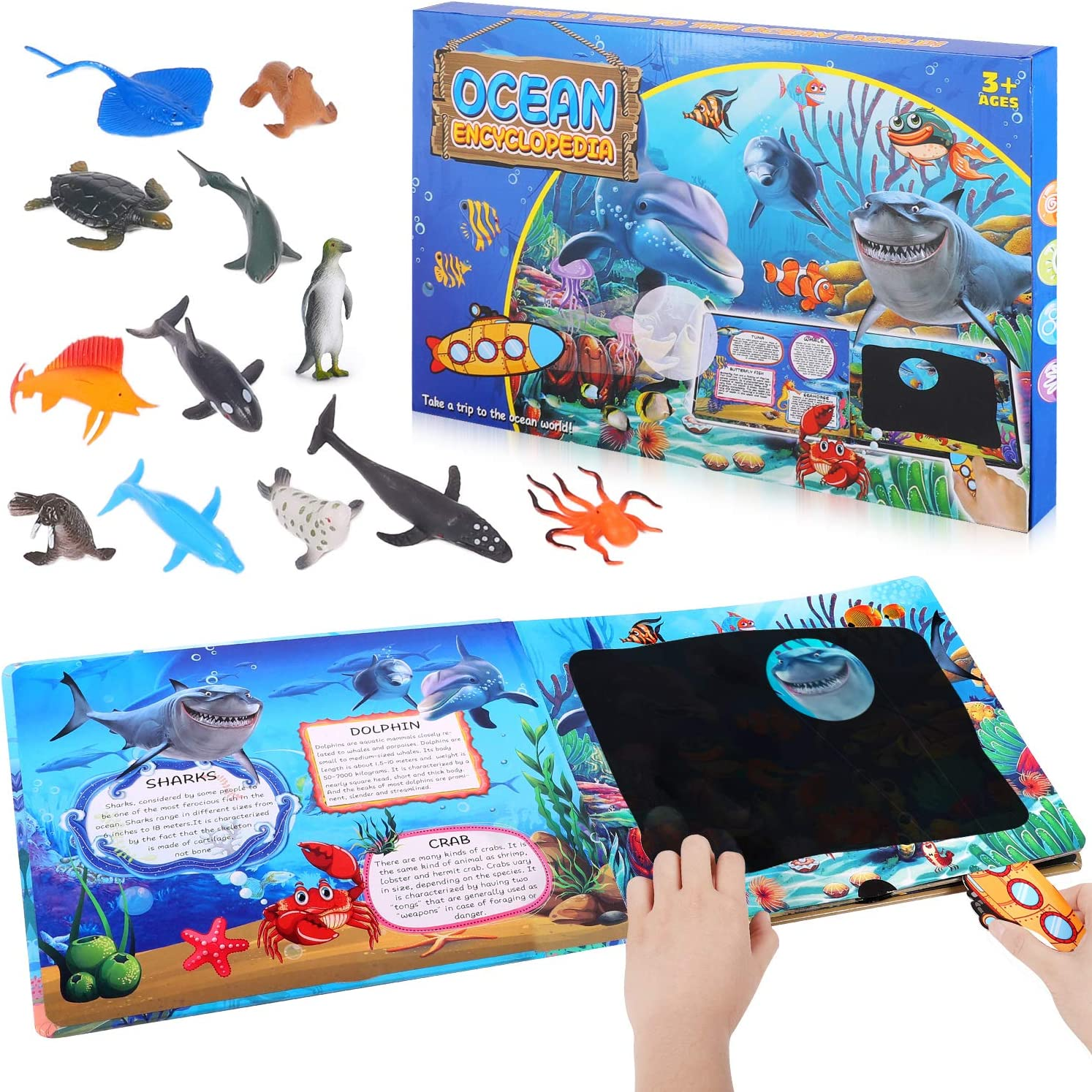 Ocean Animal Toys,12 Pack Mini Realistic Plastic Figure Bath Toys Set with Ocean World Discovery Book, Toddler Educational Toys ,Octopus Shark Otter Fish Toys for 2 3 4 5 6 & Up Old Boys and Girls