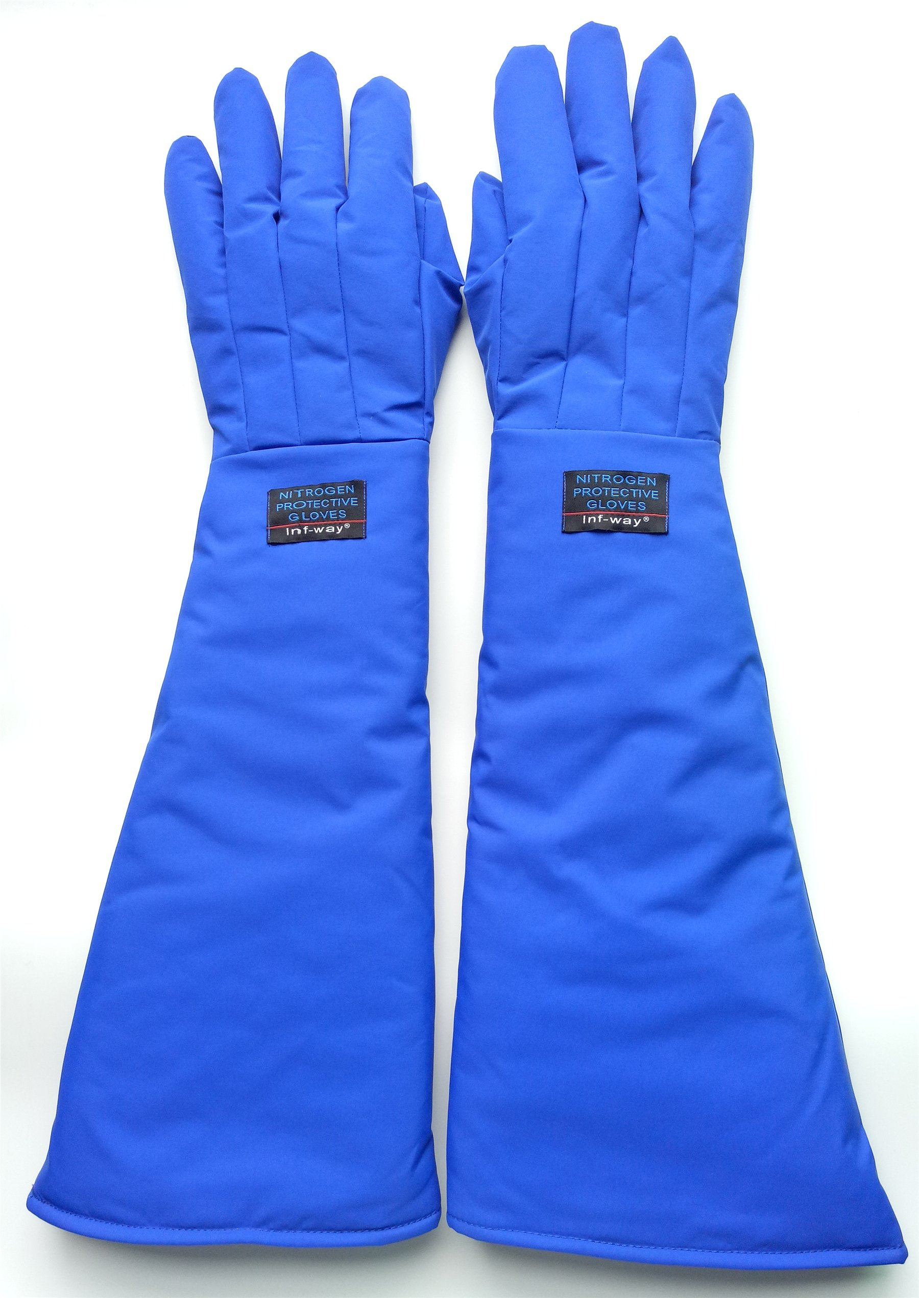 Inf-way 4 Sizes Long Cryogenic Gloves Waterproof Low Temperature Resistant LN2 Liquid Nitrogen Protective Gloves Cold Storage Safety Frozen Gloves (Blue Large)