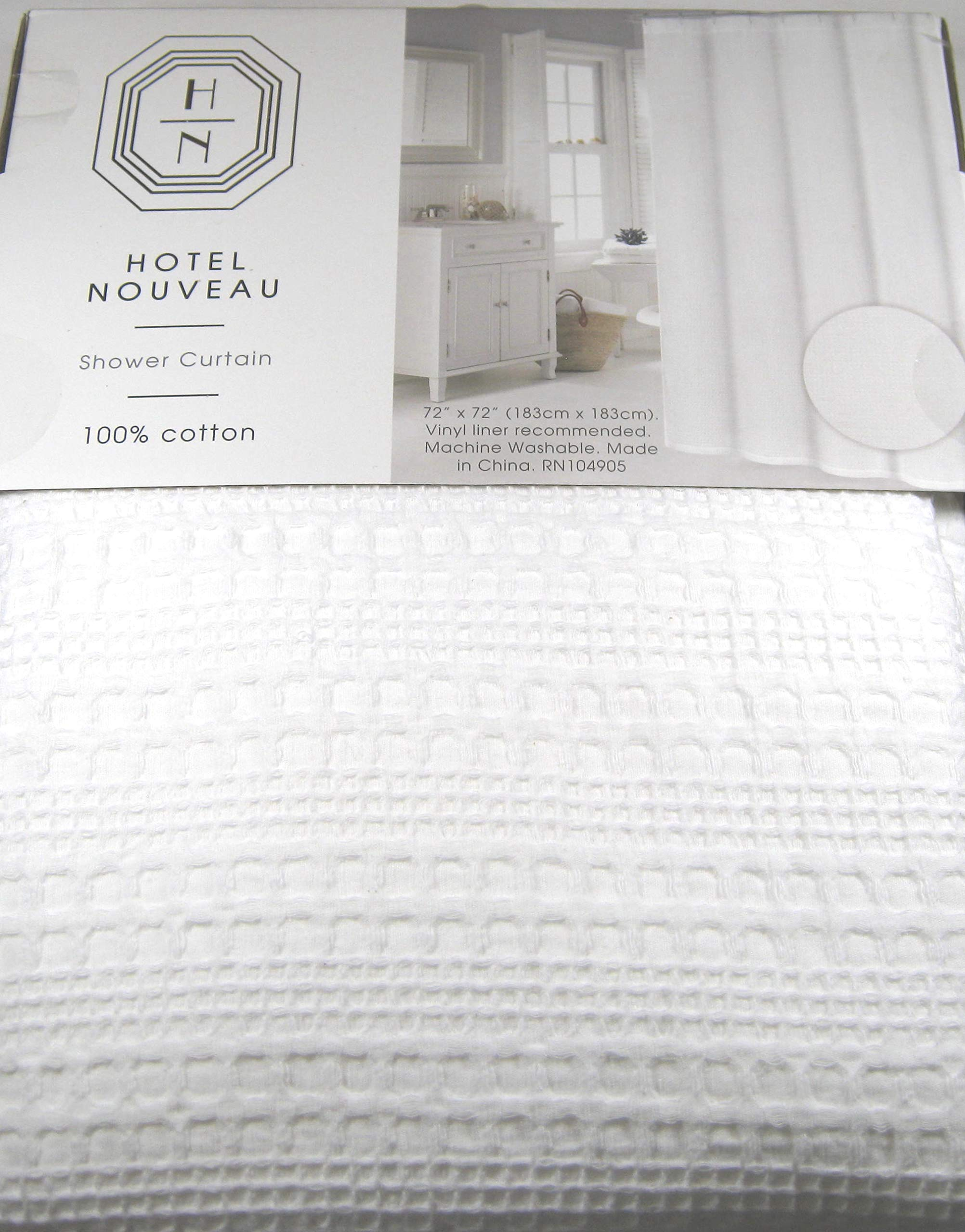 Hotel Premium Quality White Fabric Shower Curtain Textured Waffle Weave 100% Cotton 72'' x 72''