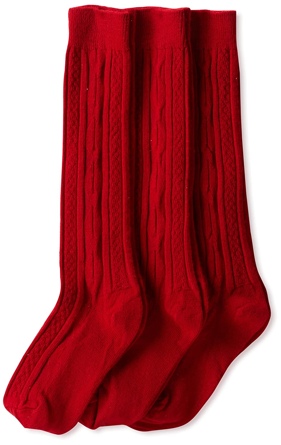 Jefferies Socks Little Girls' School Uniform Cable-Knit Knee-High Socks (Pack of 3) Burgundy Small Jefferies Socks Girls 2-6x BBMP3742