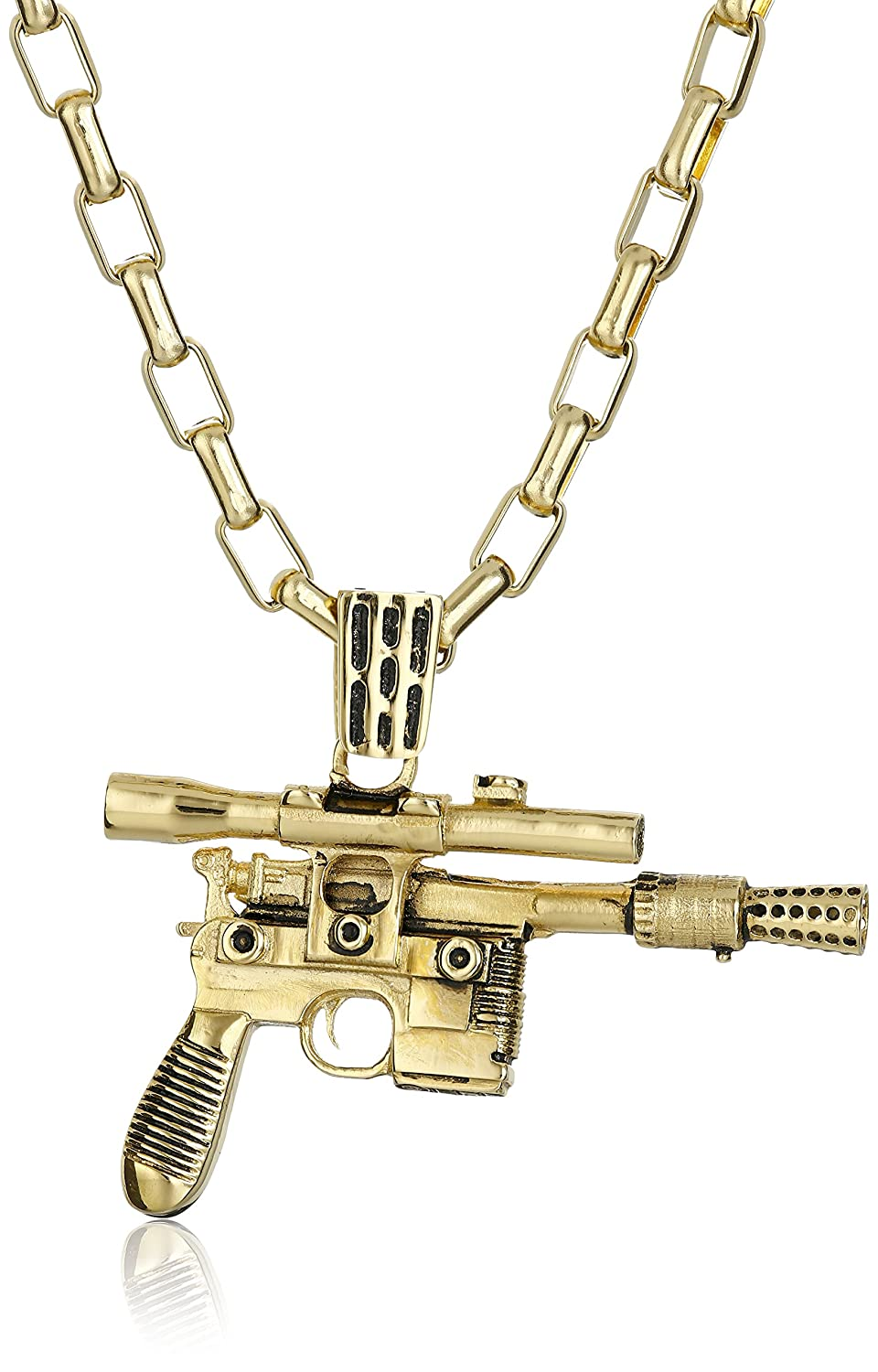 Star Wars by Han Cholo Unisex HC Blaster Gold Pendant Necklace, 30""