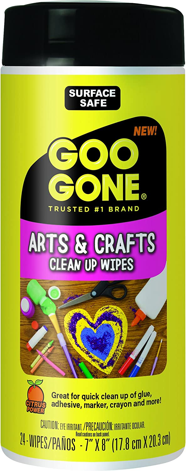 Goo Gone Adhesive Remover Arts and Crafts Clean Up Wipes - 24 Wipes