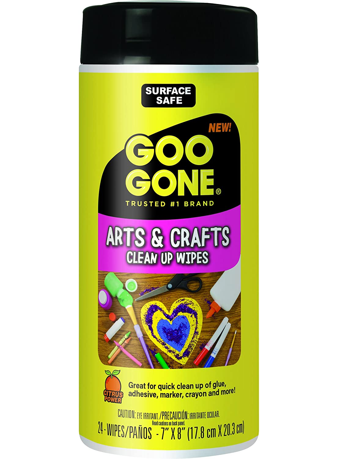 Goo Gone Adhesive Remover Arts and Crafts Clean Up Wipes - 24 Wipes Weiman Products 2208