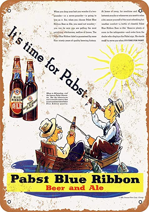 Shunry Pabst Blue Ribbon Beer and Ale Placa Cartel Vintage ...