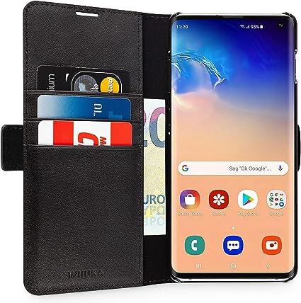 Wiiuka Echt Ledertasche Travel Away Hülle Für Samsung Galaxy S10 Mit Vier Kartenfächern Extra Dünn Tasche