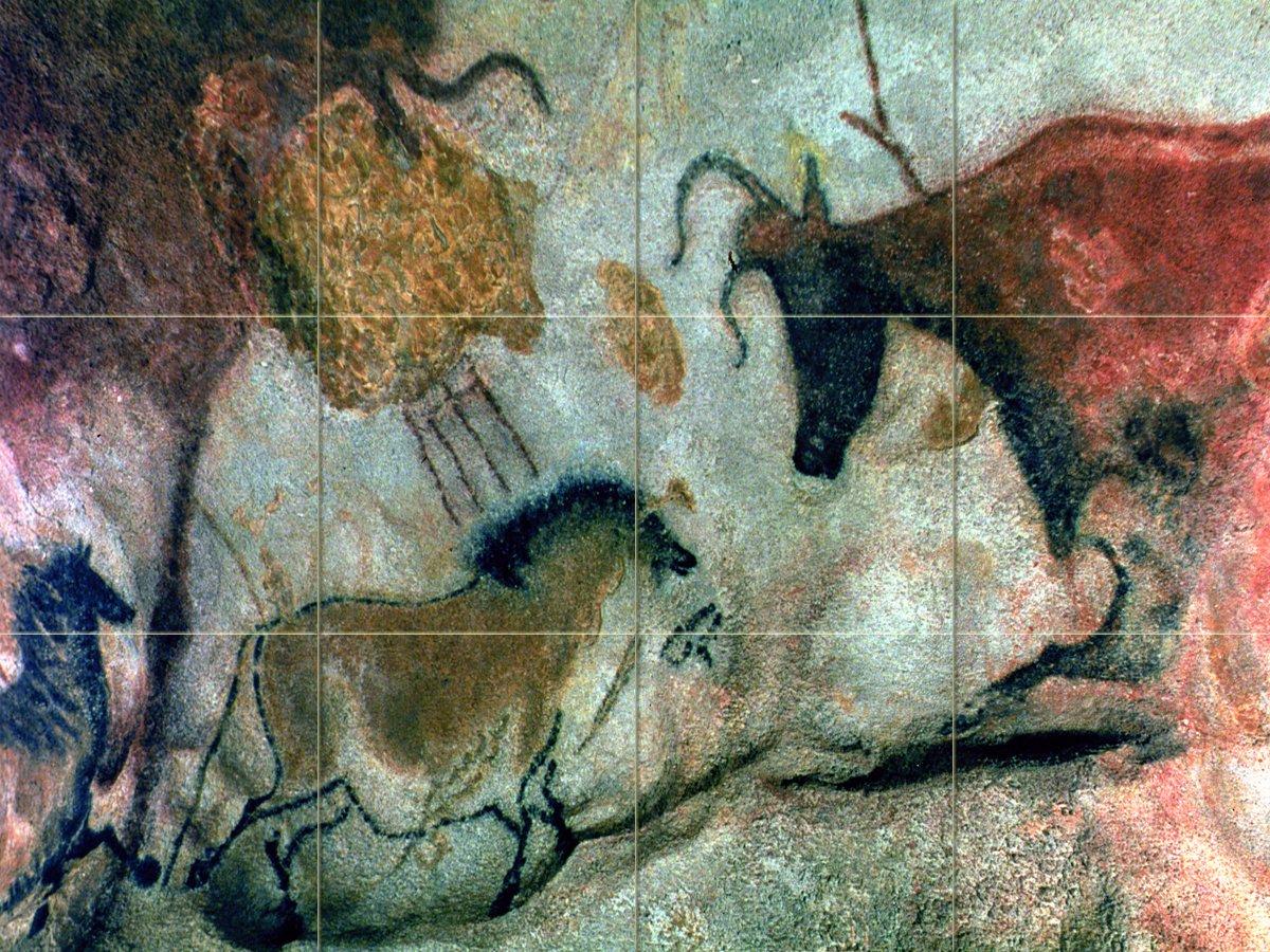 Cave Painting, Caves and Rock Parietal Art V Tile Mural Kitchen Bathroom Wall Backsplash Behind Stove Range Sink Splashback 4x3 4.25'' Ceramic, Matte by FlekmanArt