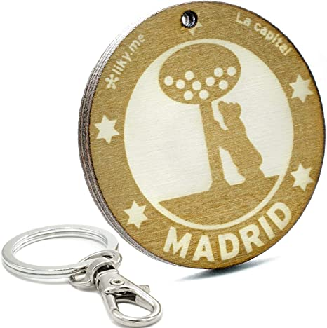 LIKE-TAG® Madrid - Llavero Original De Madera Grabado Regalo ...