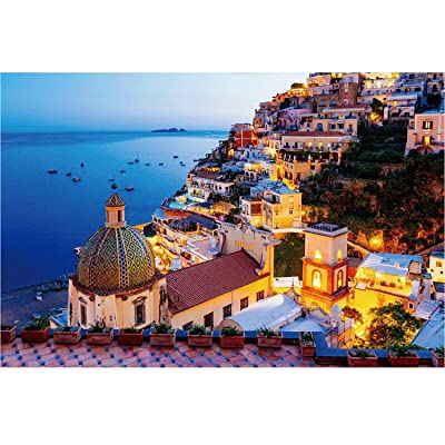 1000 Pieces Jigsaw Puzzles Large Puzzle Vintage Paintings Landscape Amalfi Coast View Painting Jigsaw Puzzles for Kids Adults: Toys & Games