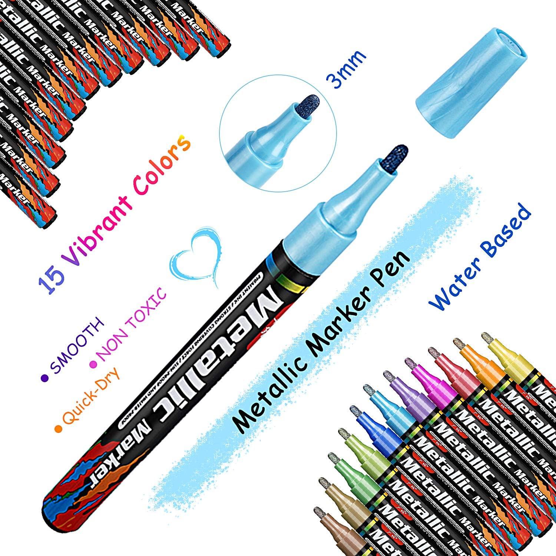 Album Photo Verre Acrylique Marker Peinture Cr/éatif pour Scrapbooking Peinture sur Pierre Gifort Marqueurs M/étalliques Feutres 24pi/èces M/étalliques Permanente