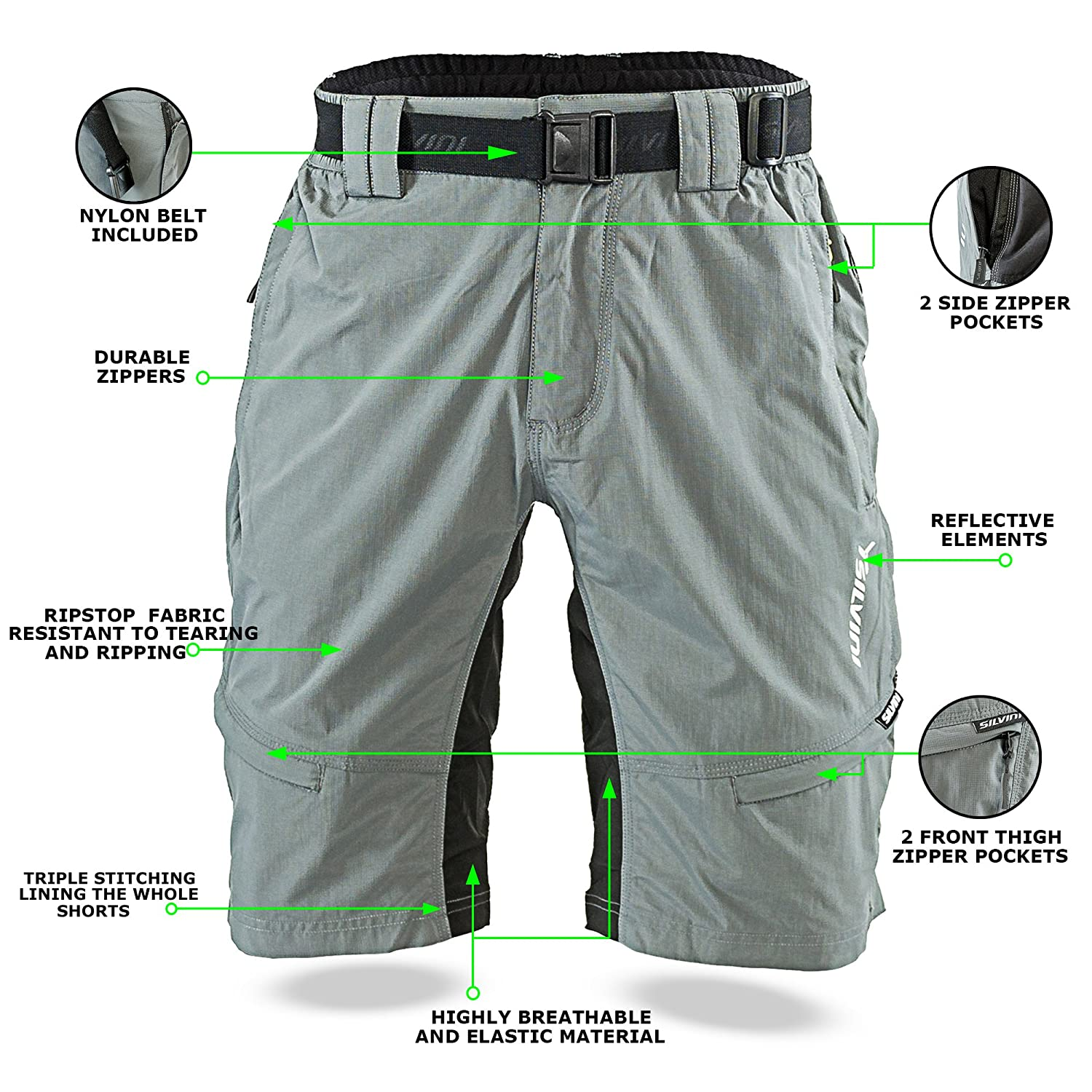 Amazon.com  SILVINI Men s Shorts Rango with 6 Pockets for Cycling and All  Other Outdoor Activities  Clothing 8554b4c4d