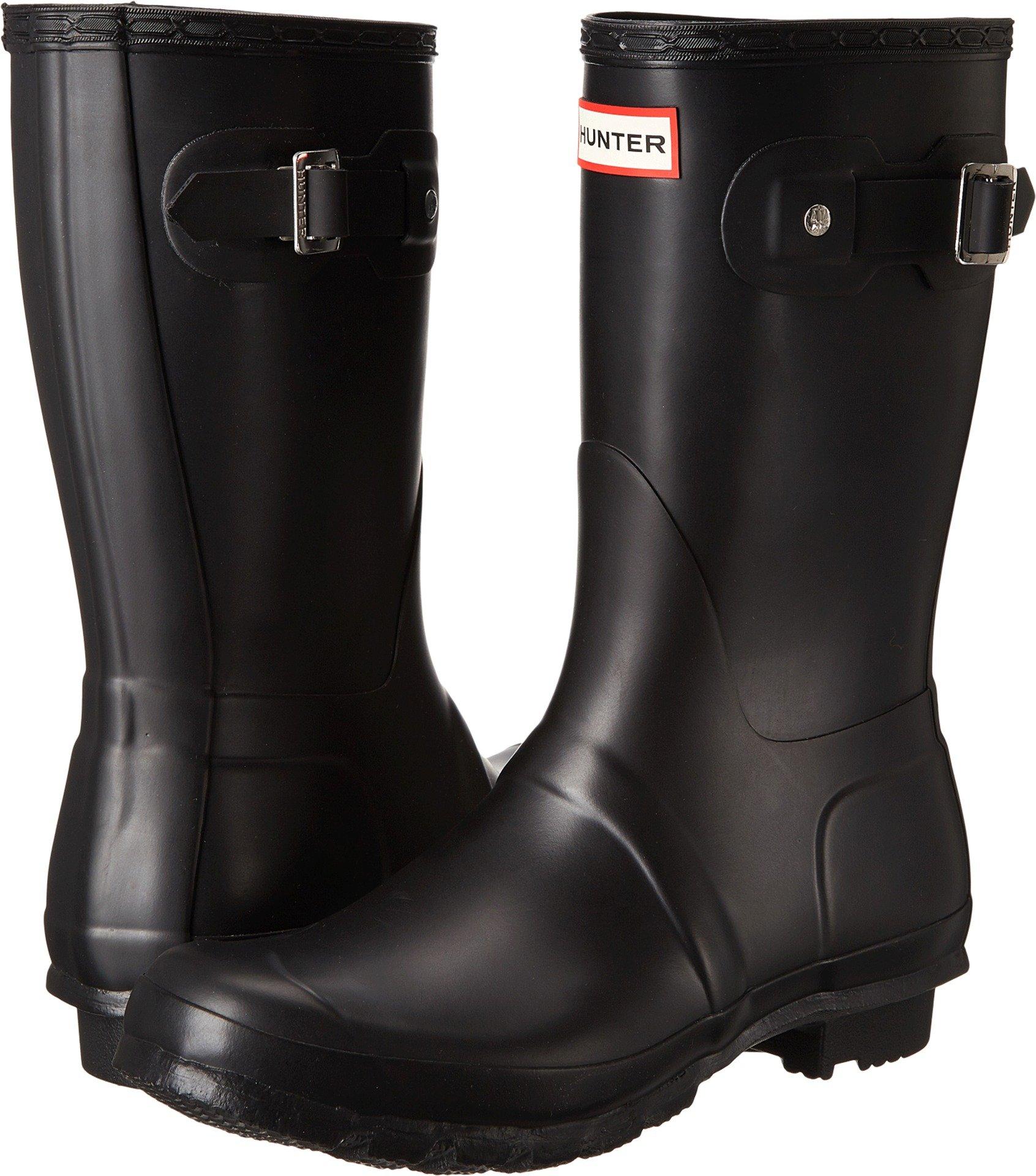 Hunter Womens Original Short Black Matte Rain Boot - 7 B(M) US