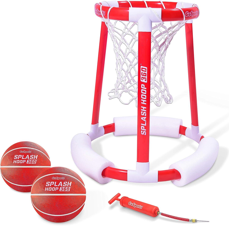 GoSports Splash Hoop 360 Floating Pool Basketball Game, Includes Water Basketball Hoop, 2 Balls and Pump