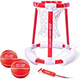 GoSports Splash Hoop 360 & Splash Pass Floating Pool Games | Choose Between Basketball and Football | Set Includes Hoop, Balls and Pump