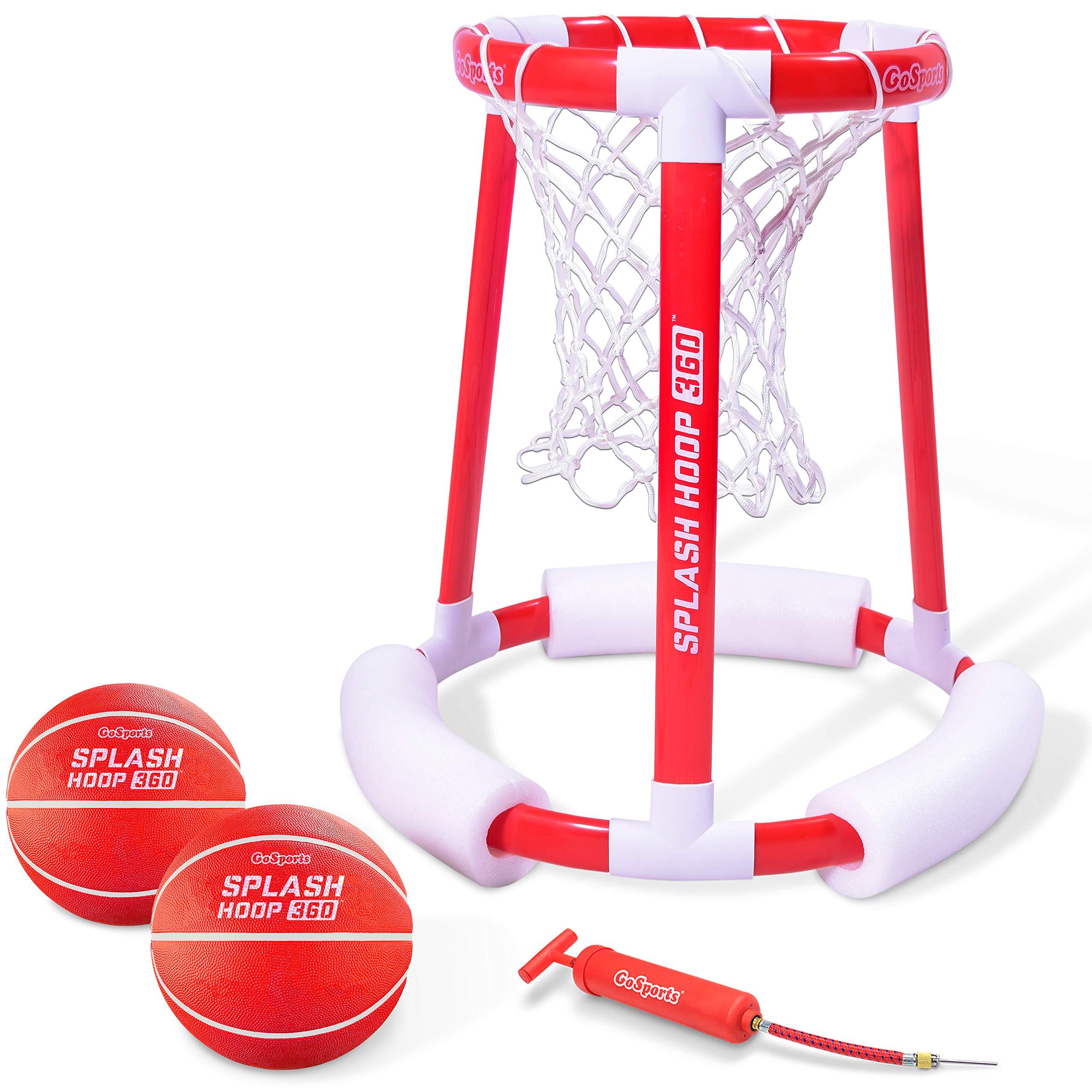 GoSports Splash Hoop 360 Floating Pool Basketball Game | Includes Water Basketball Hoop, 2 Balls and Pump by GoSports