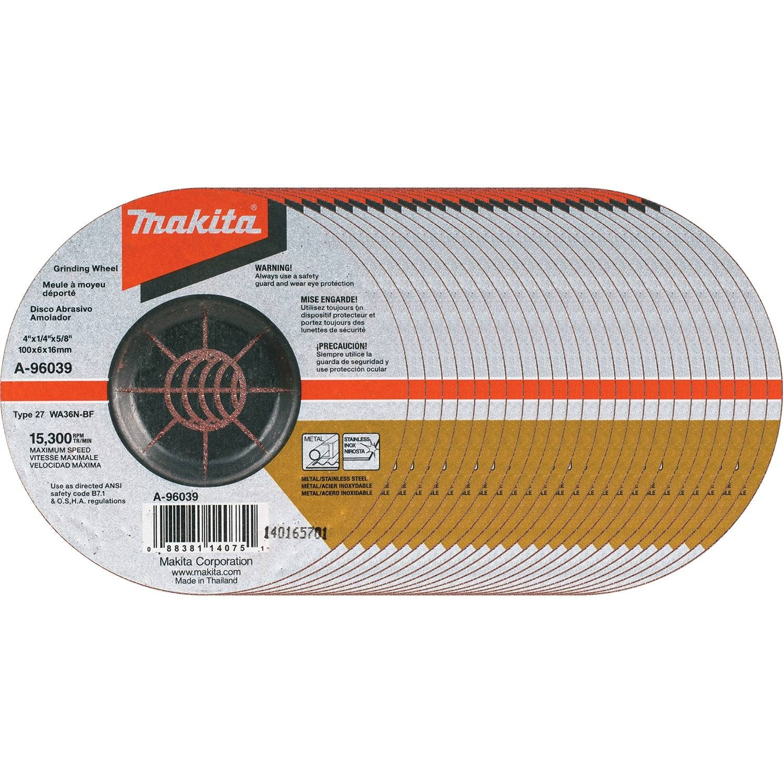 Amazon.com: Makita A-96039-25 36 Grit INOX Grinding Wheel (25 Pack), 4 x 1/4 x 5/8