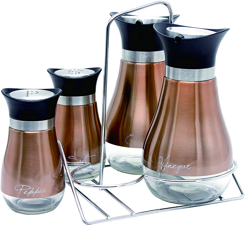 Le Regalo HW1241 5 Piece Condiment Set, Kitchen Storage, Salt and Pepper, Oil and Vinegar Dispenser and Rack, Copper