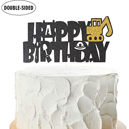Awe Inspiring Construction Happy Birthday Cake Topper Truck Excavator Personalised Birthday Cards Veneteletsinfo
