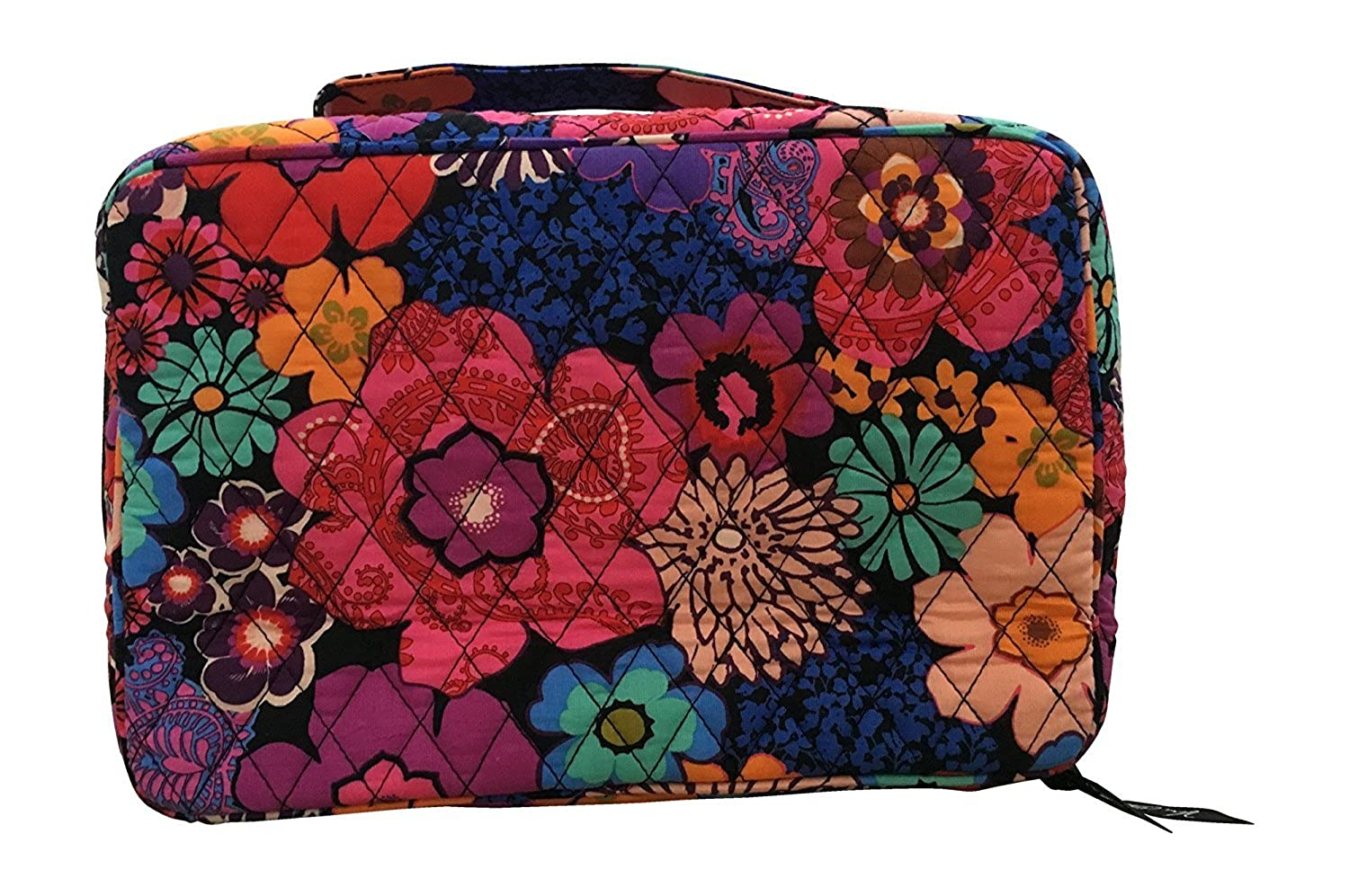 Vera Bradley Blush Brush Makeup Case Floral Fiesta with Solid Black Interior