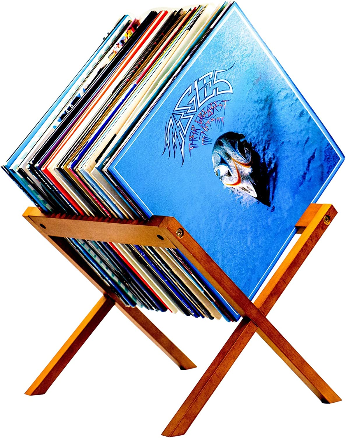 """The HHC Vinyl Record Holder, Single and Double Vinyl Storage, Modern Wooden Record Display Rack for 12""""x12"""" Albums, Vinyl Record Storage Stand, LP Album Storage Organizer, Record Crate Box Alternative"""