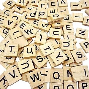 Sunnyglade 500PCS Wood Letter Tiles/ Wooden Scrabble Tiles A-Z Capital Letters for Crafts, Pendants, Spelling