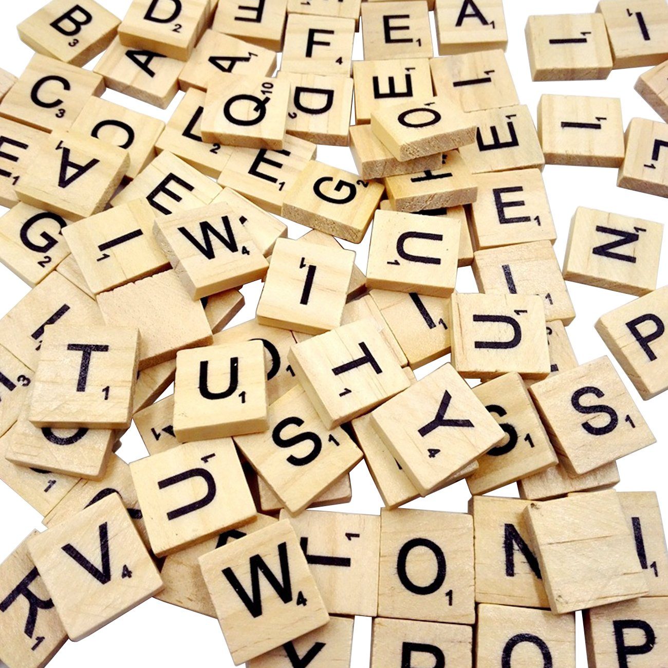 Sunnyglade 500PCS Wood Letter Tiles/ Wooden Scrabble Tiles A-Z Capital Letters for Crafts, Pendants, Spelling