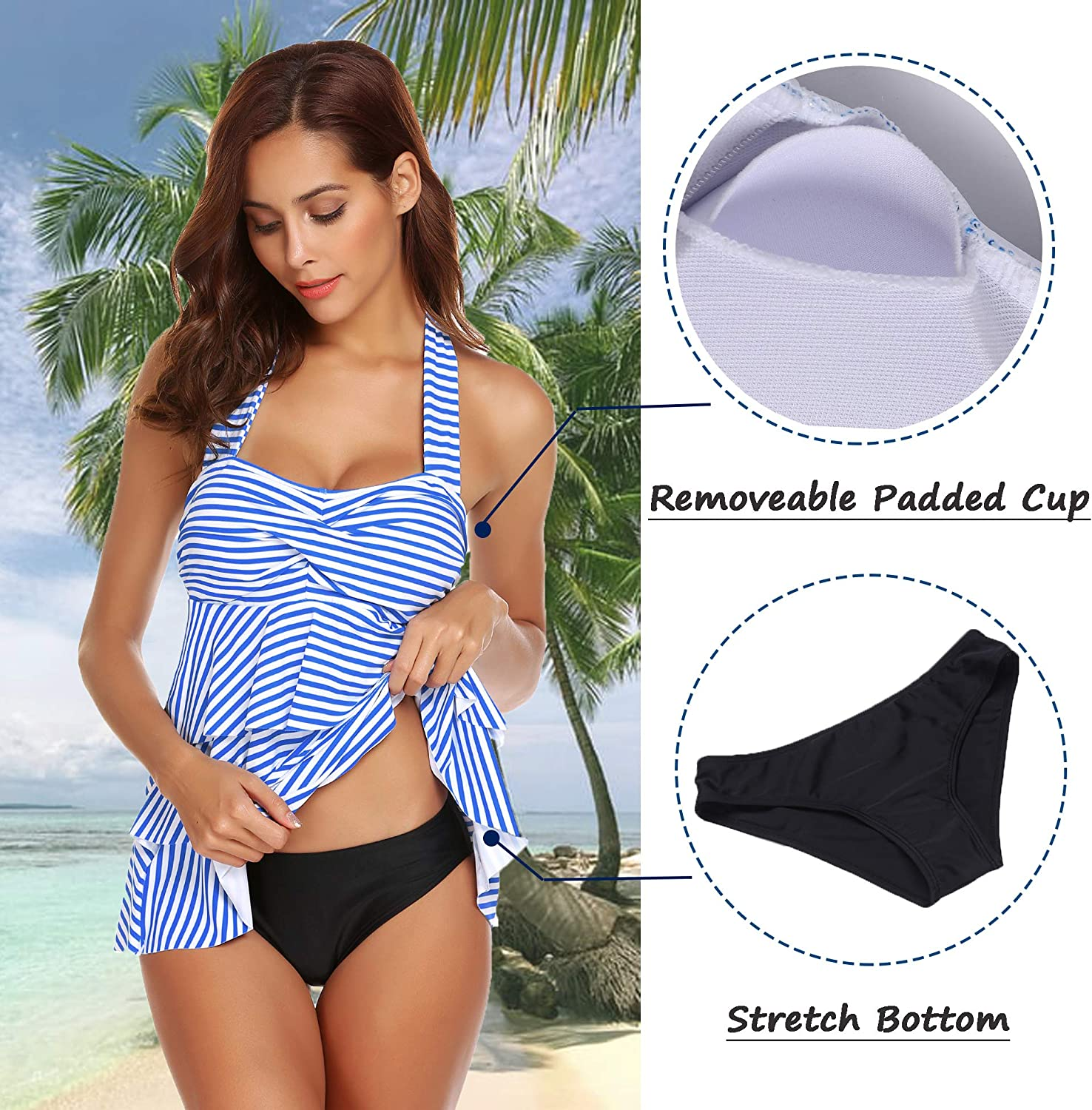 ADOME Womens Halter Swimsuit Striped Ruffles Two Piece Tankini with Briefs