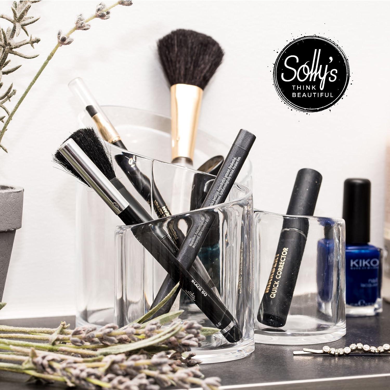 Sollys Susann - Neceser de maquillaje transparente - Organizador para accesorios cosméticos - 3 compartimentos