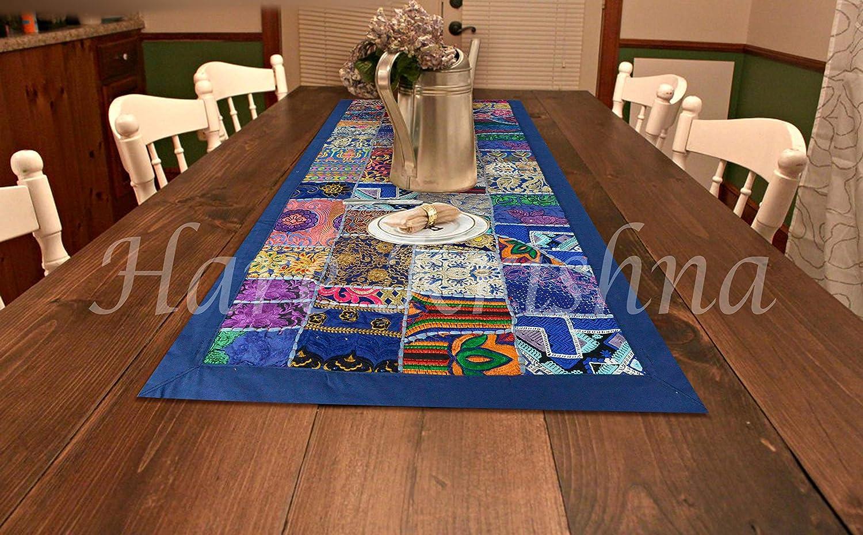 Hare Krishna インド綿テーブルランナー 刺繍パッチワーク ダイニングキッチンテーブルタペストリー (ブルー) 60 x 23インチ   B07KGBSTDM