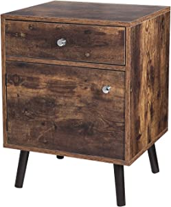 VASAGLE Side, End Table, Nightstand with 1 Drawer, Durable, for Bedroom, Living Room, Office, Rustic Brown