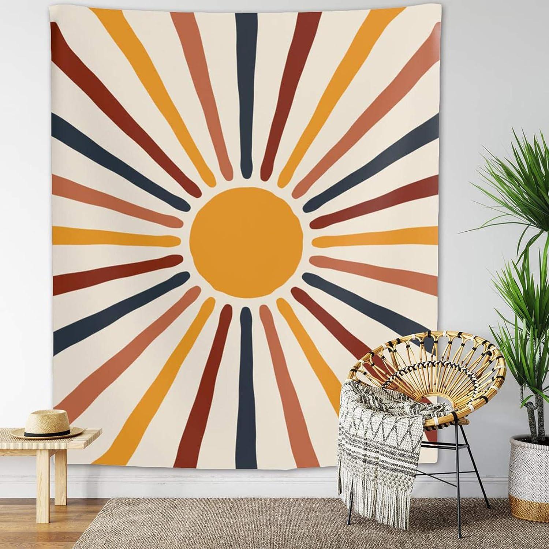 Finduat Boho Vintage Sun Tapestry Retro 70s Rainbow Minimalist Geometric Grunge Abstract Art Print Boho Wall Hanging Bohemian Decor for Dorm Living Room Bedroom( 59.1