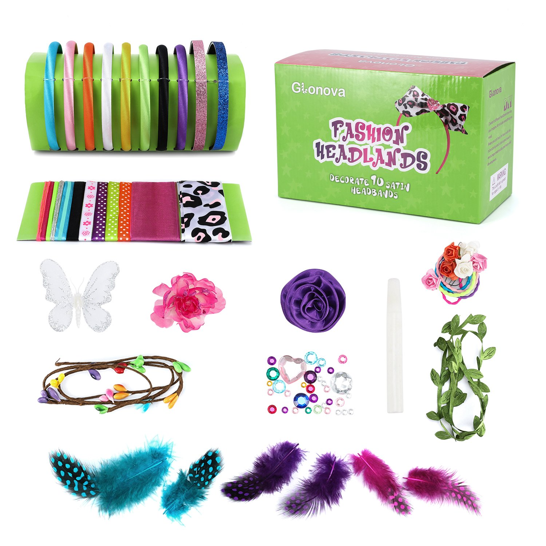 Fashion Headbands Kit for Kids Girls, Glonova 60 Pcs DIY Headbands Kit Hair Accessory Set for Kids Creativity, 10 Unique Headbands