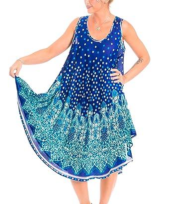 ba738ee53f832b Gadzo Strandkleider blau Damen Sommer Strandkleid strandtunika Damen  Trägerkleid blau StrandM 0166