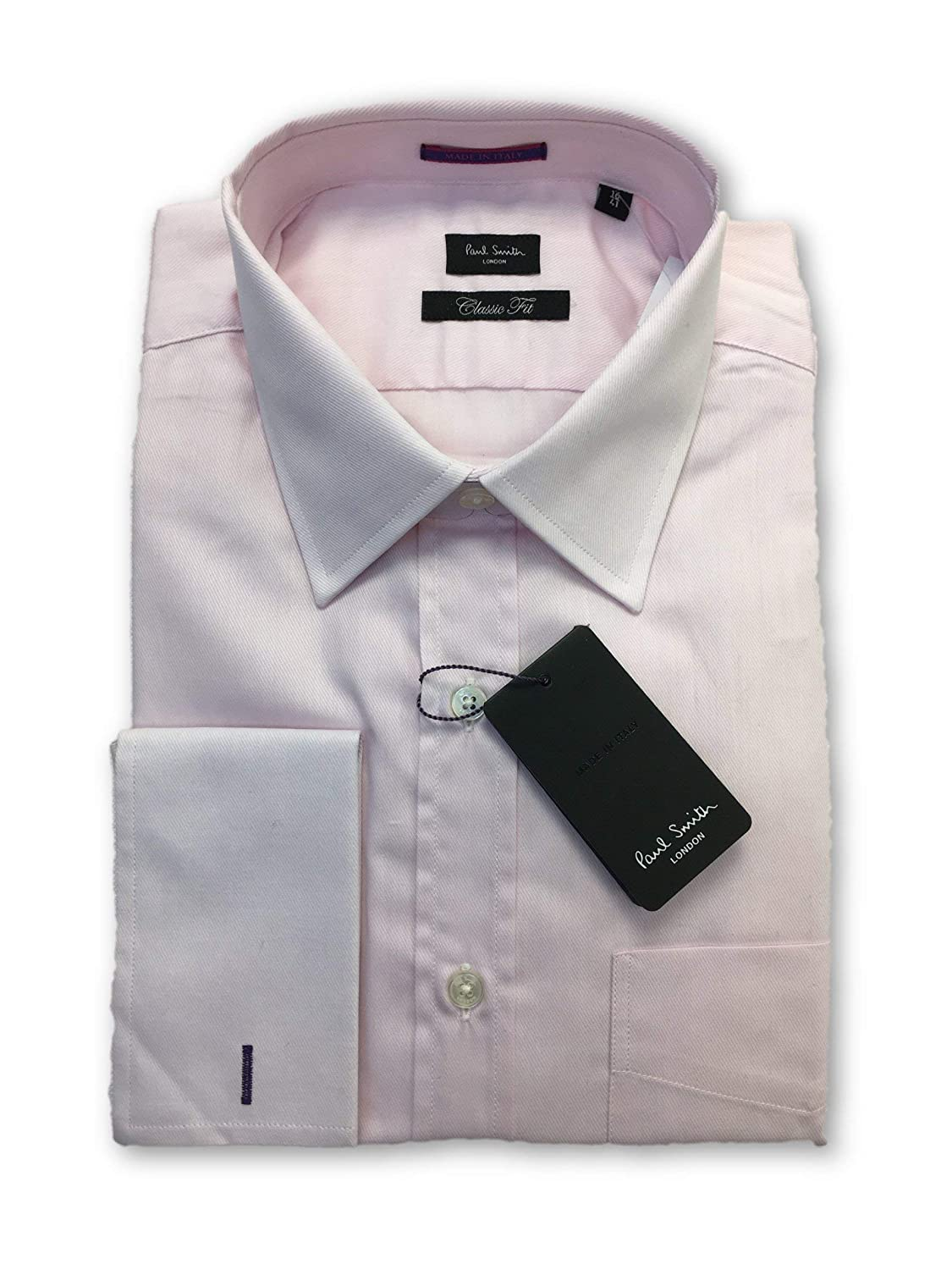 Paul Smith London Classic fit Double Cuff Shirt in Pink 16: Amazon ...