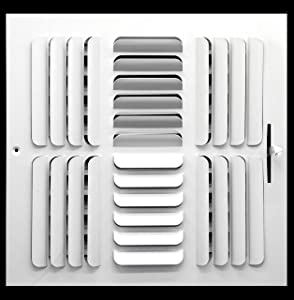 """10"""" x 10"""" - 4-Way Curved Blade Supply Air Grille - Maximum Air Flow - HVAC Vent Cover"""