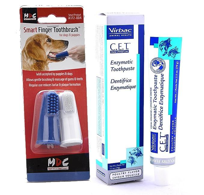 Pasta de dientes para perros enzimática Virbac (sabor a pollo, 70 g) con cepillo de dientes para el dedo, paquete de dos, de Smart Bundles