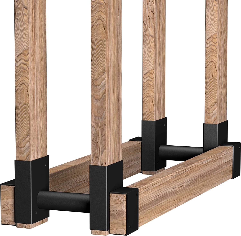 Amagabeli 2Pack Firewood Bracket Rack Outdoor Fireplace Log Rack Wood Storage Lumber Pile Holder Stacker Kit DIY Heavy Duty Steel Fire Pit Accessory Adjustable Any Length Height Screw Included Black